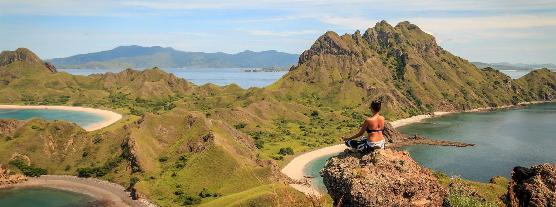 Padar Island Komodo Natinal Park Yoga Pose Panorama